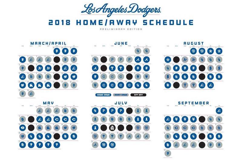 Dodgers Calendar.Dodgers 2018 Preliminary Schedule Season Begins Concludes Against