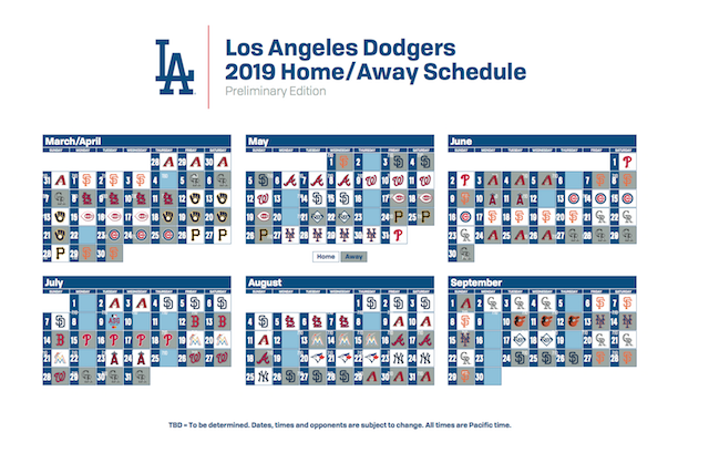 Los Angeles Dodgers 2019 regular season schedule
